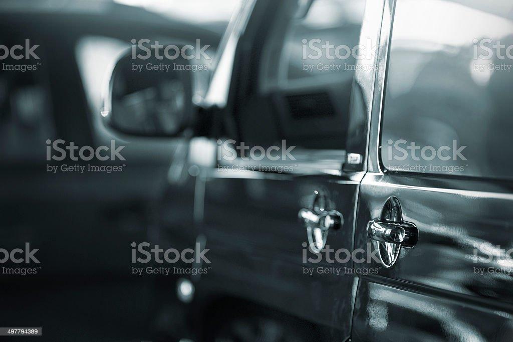 Black Transporter side view stock photo