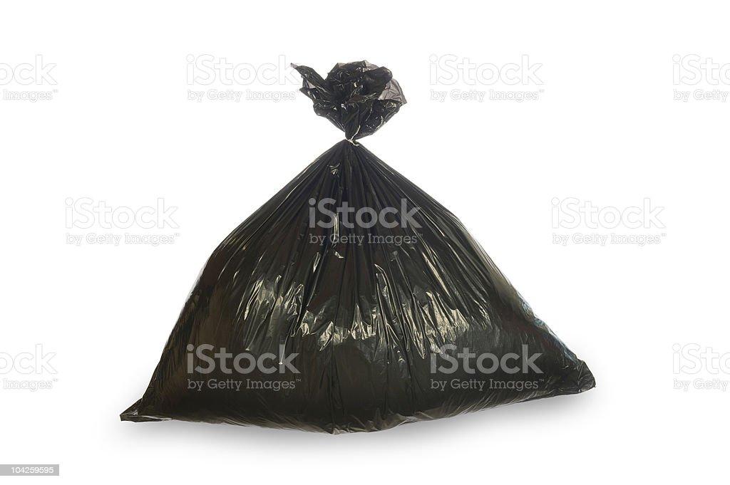 Black trash bag isolated on white royalty-free stock photo