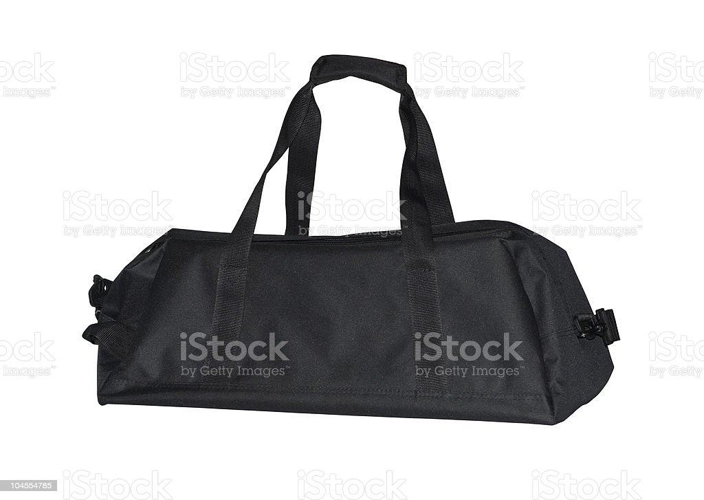 Black travel bag on white background  stock photo