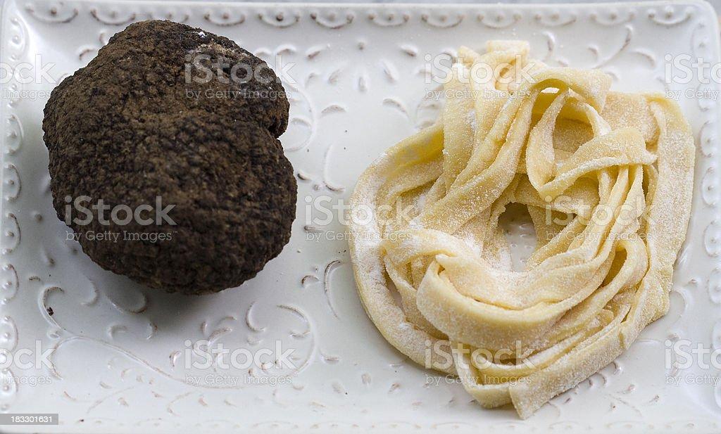 Black Truffle ad Home-made Tagliatelle Pasta stock photo