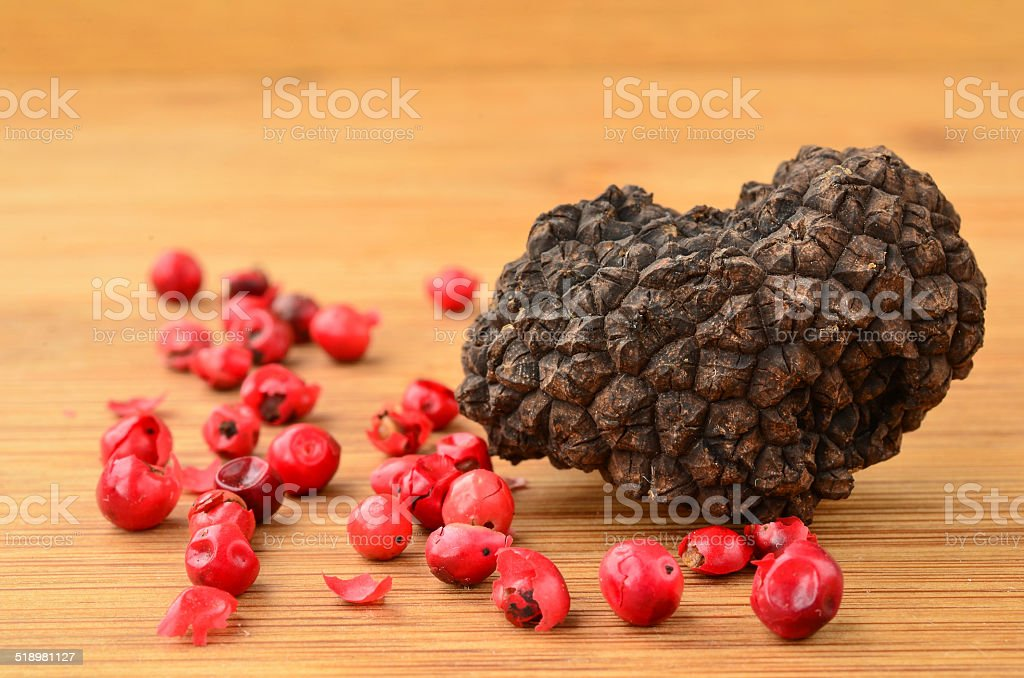 Black truffle and red pepper stock photo