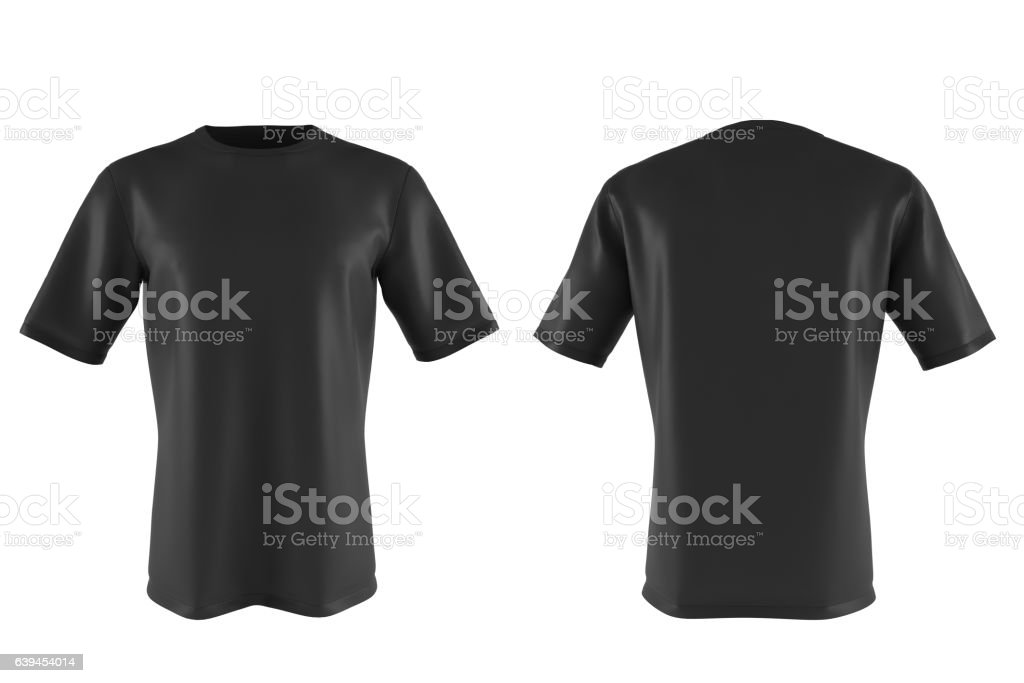 black T-shirt isolated on white. 3d render stock photo