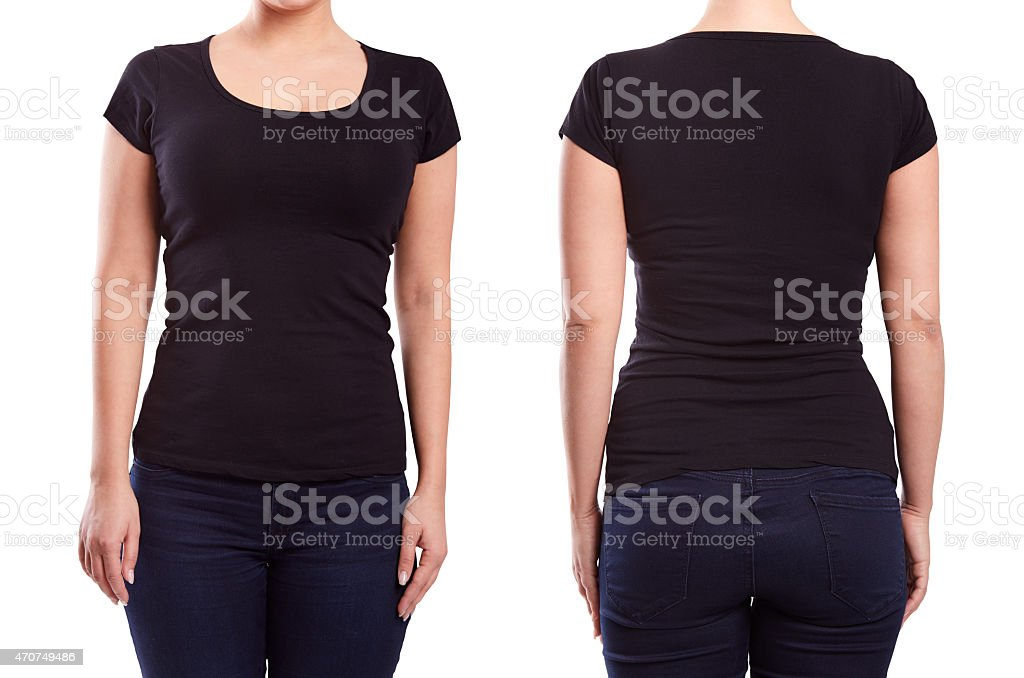 Black tshirt on a young woman stock photo