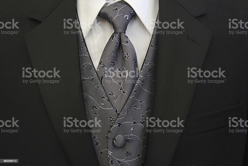 Black Tuxedo Silver Tie and Vest stock photo