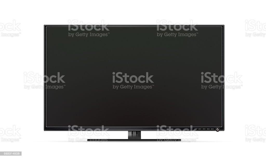Black TV flat screen isolated, realistic illustration stock photo
