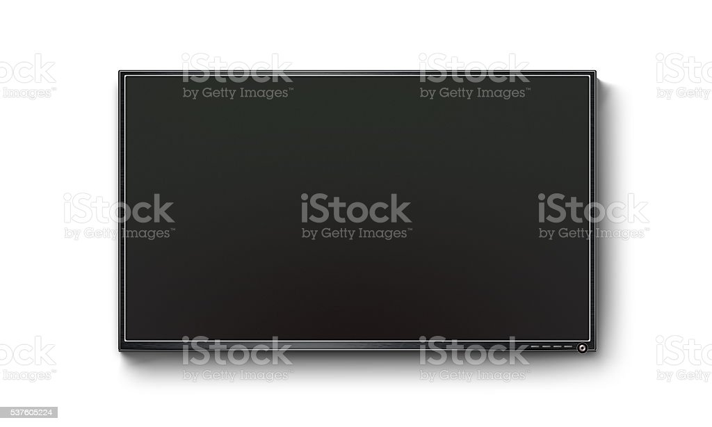 Black TV flat screen, plasma mock up on the wall stock photo