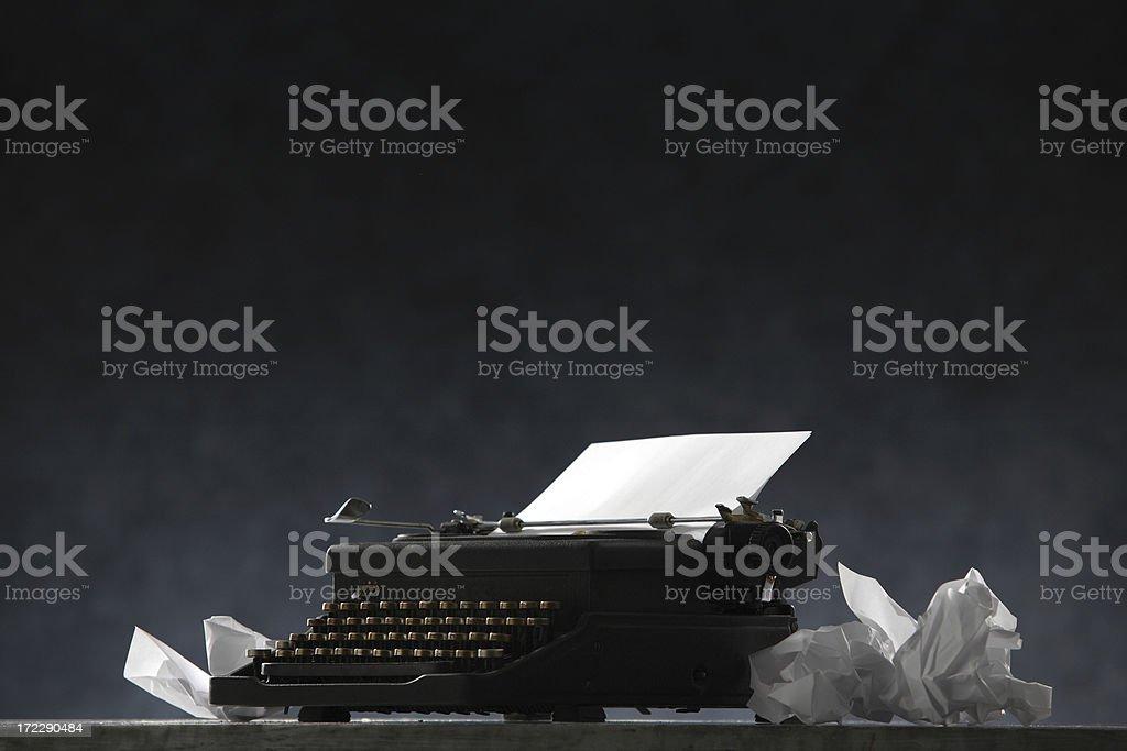 Black: Typewriter and Paper stock photo