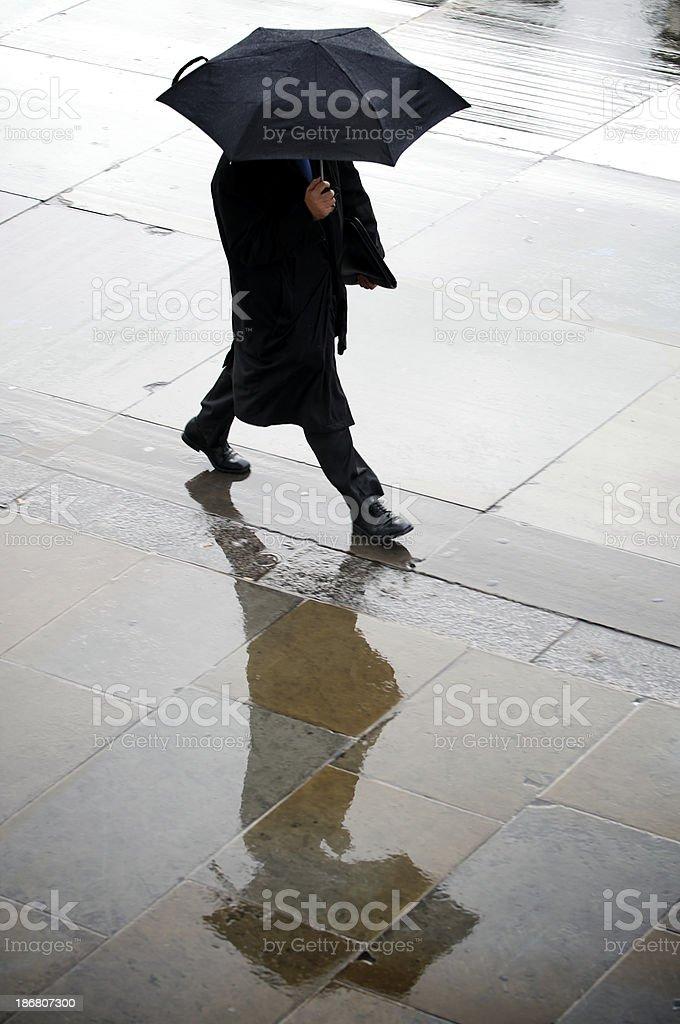 Black Umbrella Businessman Rainy Sidewalk royalty-free stock photo