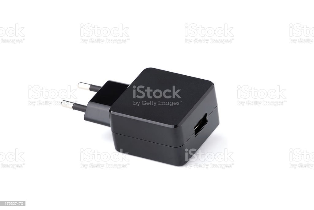 Black USB electronics device charger isolated royalty-free stock photo