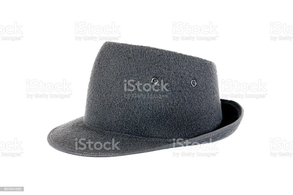 Black velvet hat isolated on white background stock photo