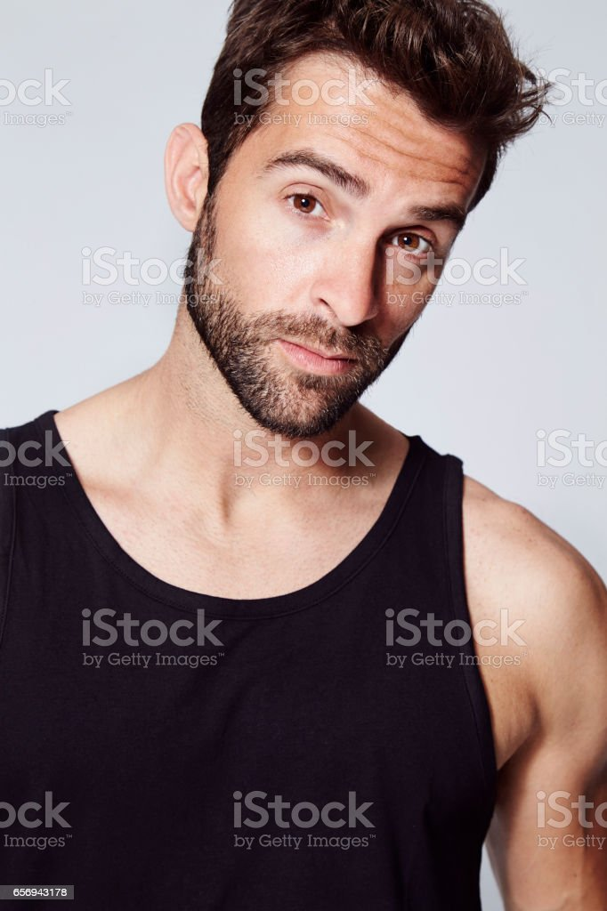 Black vest guy stock photo