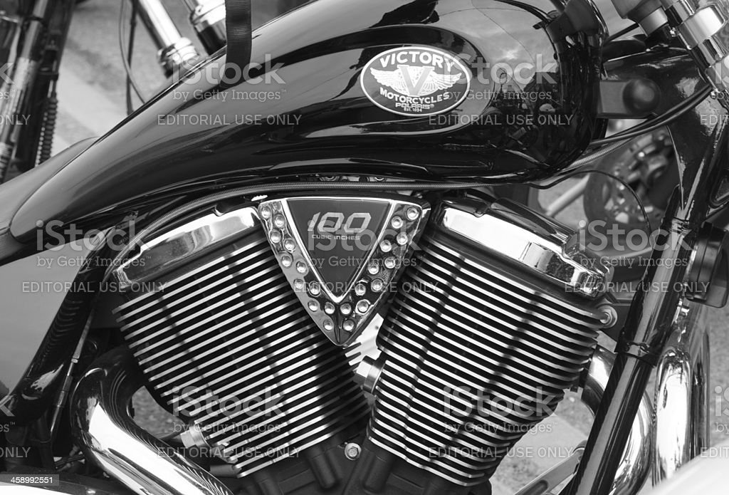 Black Victory Motorcycle at Oyster Run 9-23-12 stock photo