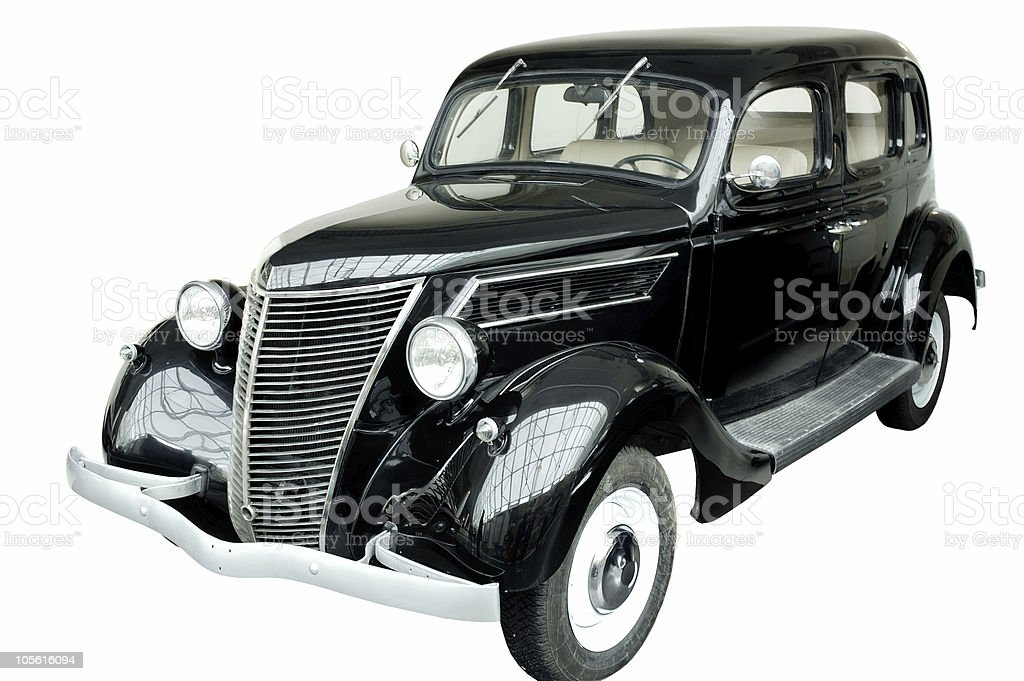 Black vintage classic car isolated stock photo