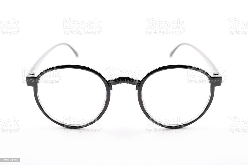 Black vintage glasses isolated on a white background stock photo