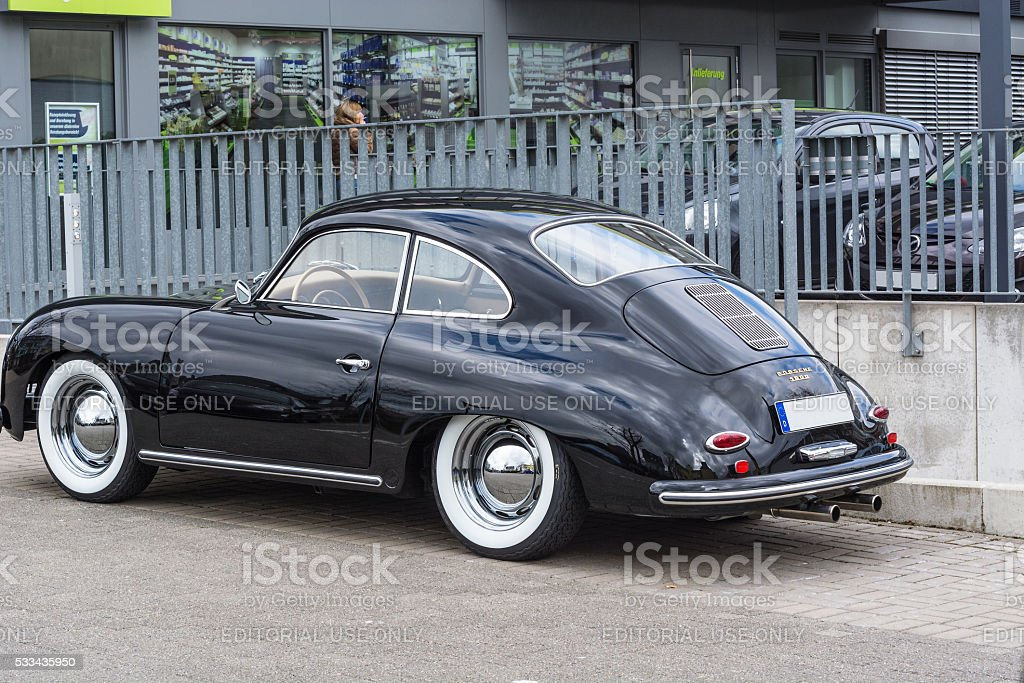 Black vintage Porsche 1600 stock photo