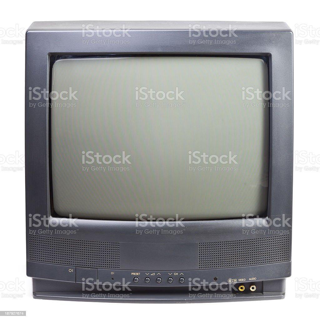 Black vintage television set on white background stock photo