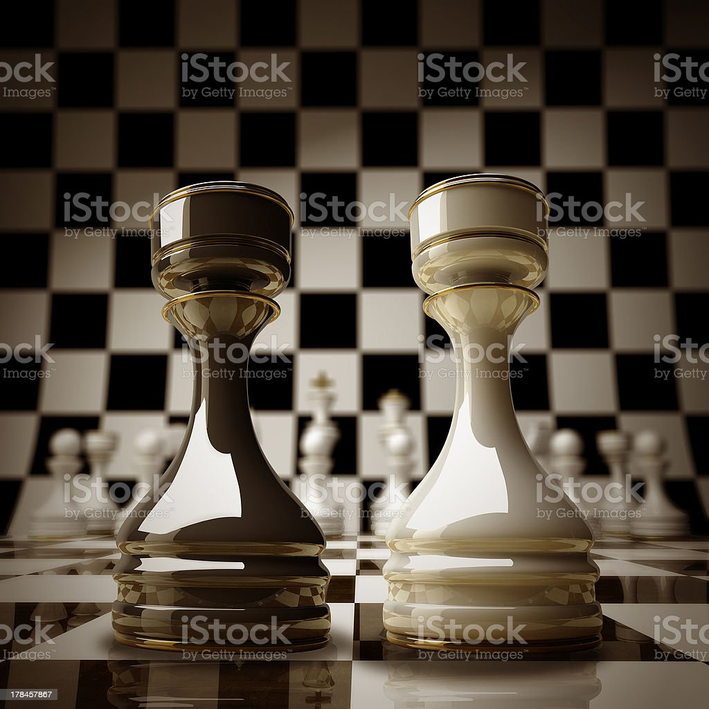 Black vs wihte chess rook stock photo