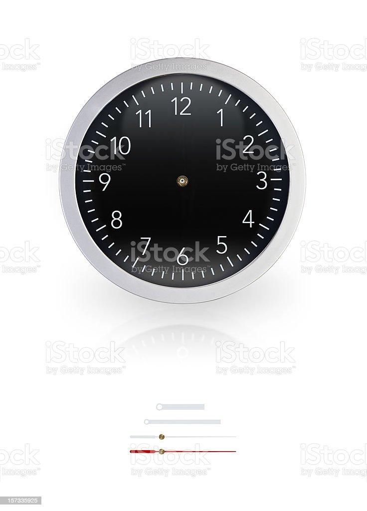 Black Wall Clock w/Clipping Path royalty-free stock photo