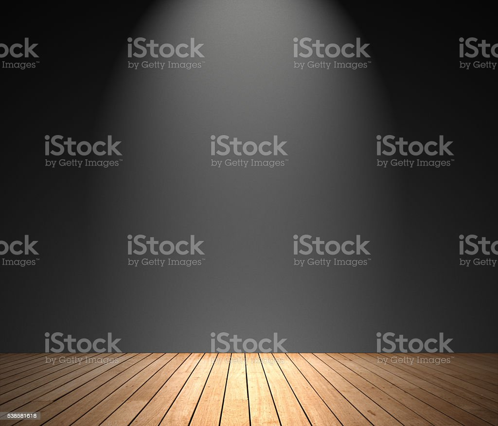 Black wall domestic room with spot lighting effect stock photo