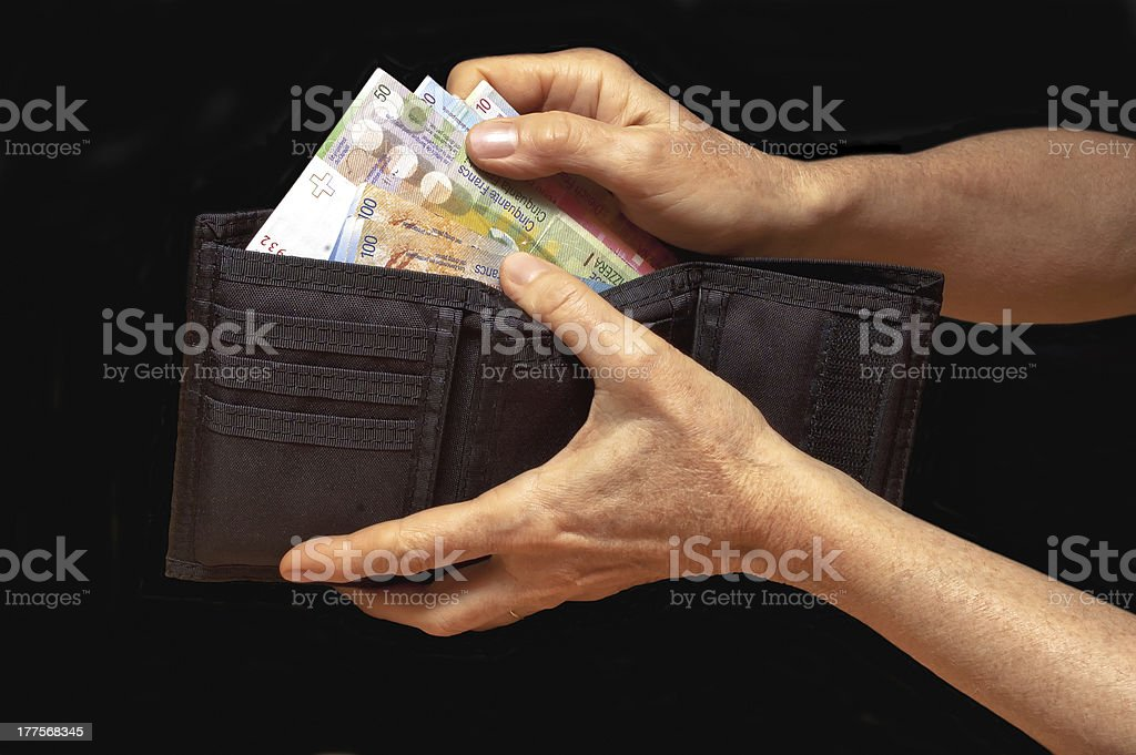 Black wallet with money royalty-free stock photo