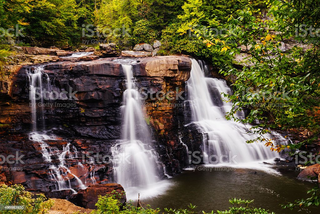 Black Water Falls in West Virginia in early autumn stock photo