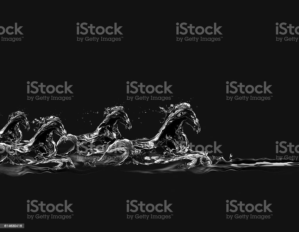 Black Water Horses Galloping royalty-free stock photo