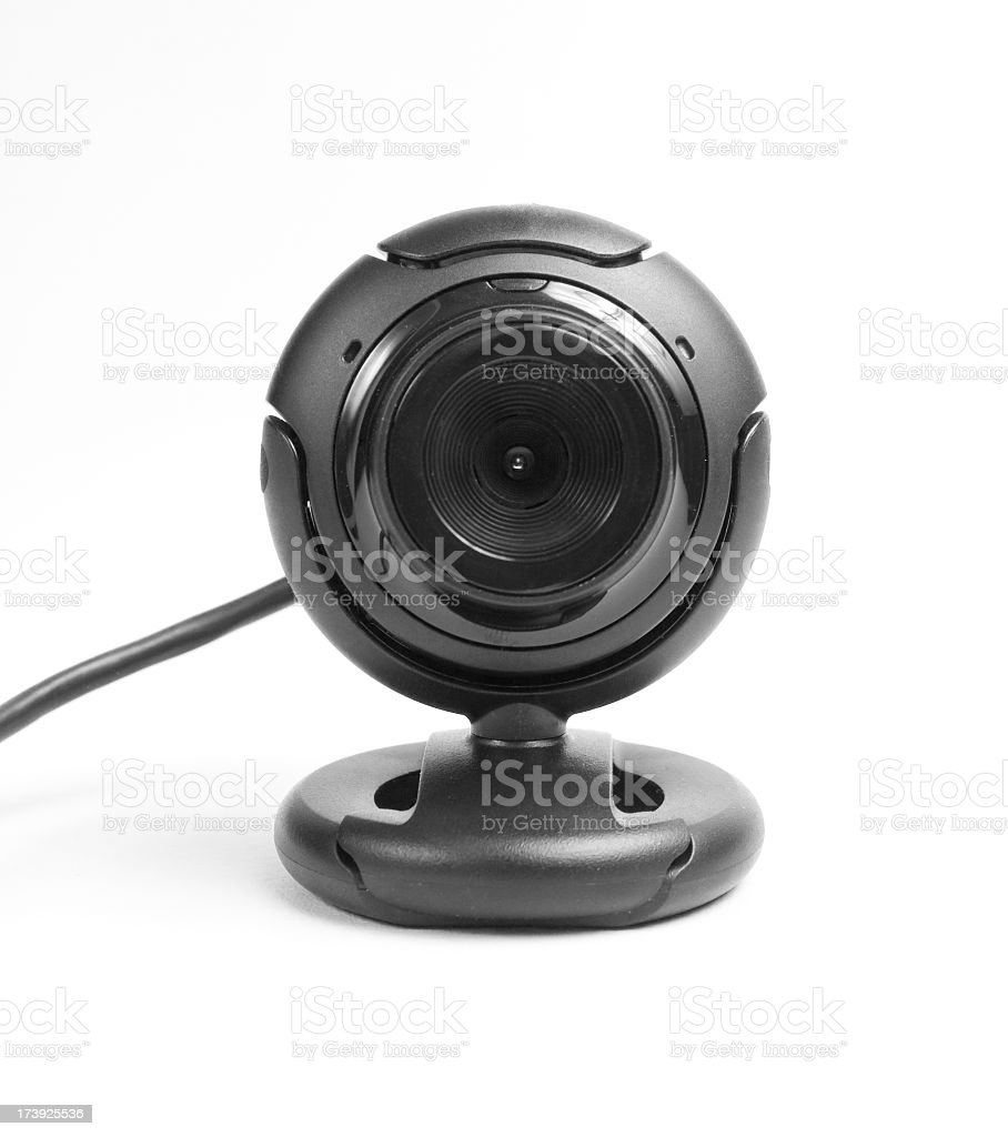 Black webcam close-up with the wire royalty-free stock photo