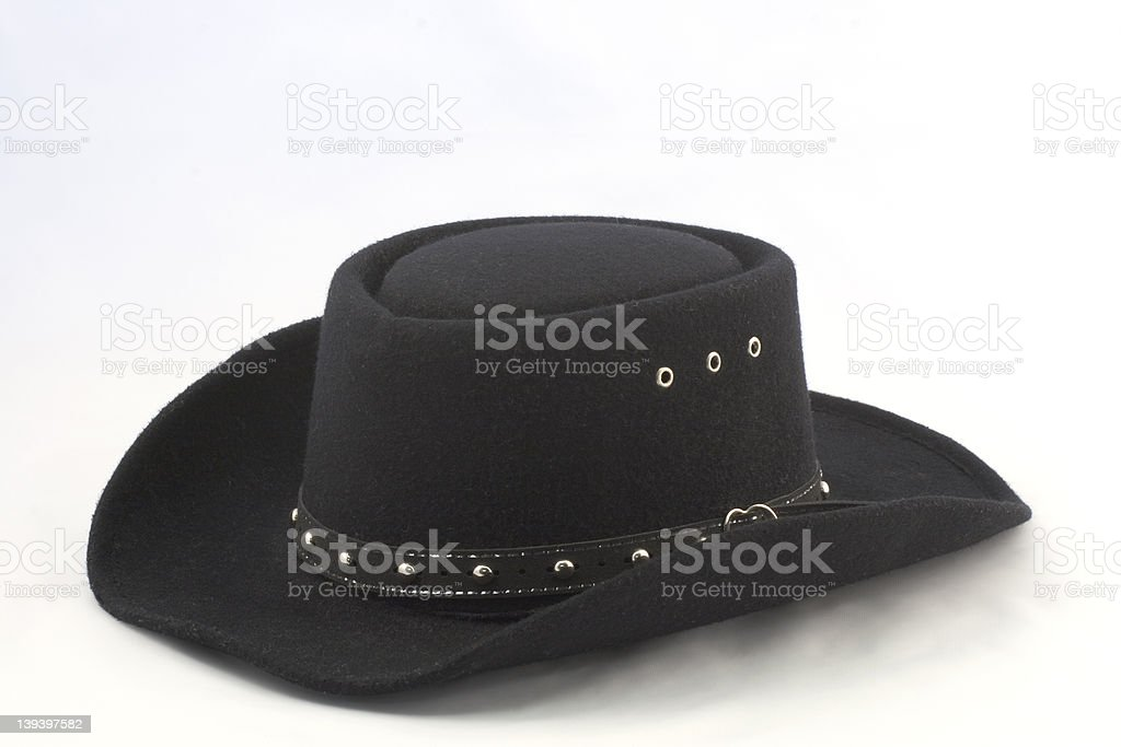 Black Western Hat with Silver Trim royalty-free stock photo