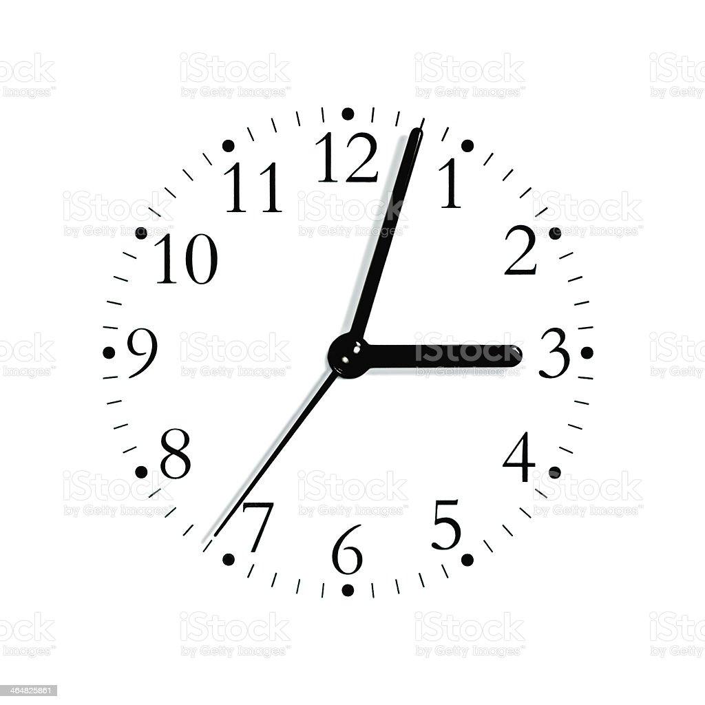 Black white analogue clock face dial 3:03, isolated macro closeup royalty-free stock photo