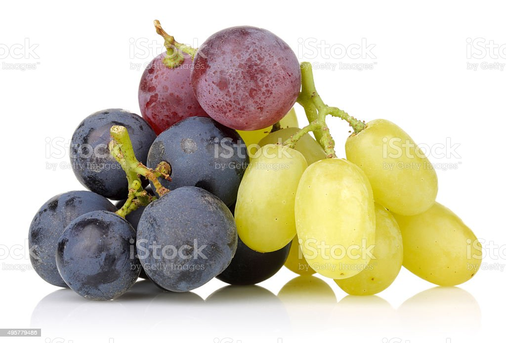 Black, white and red grapes stock photo