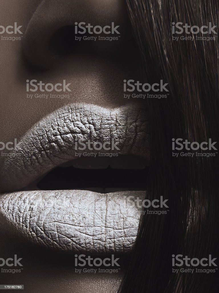 Black & White Beauty Lips stock photo