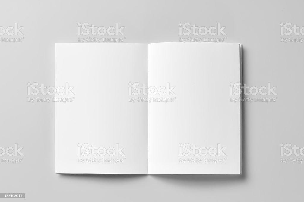 Black white brochure open on a white surface stock photo