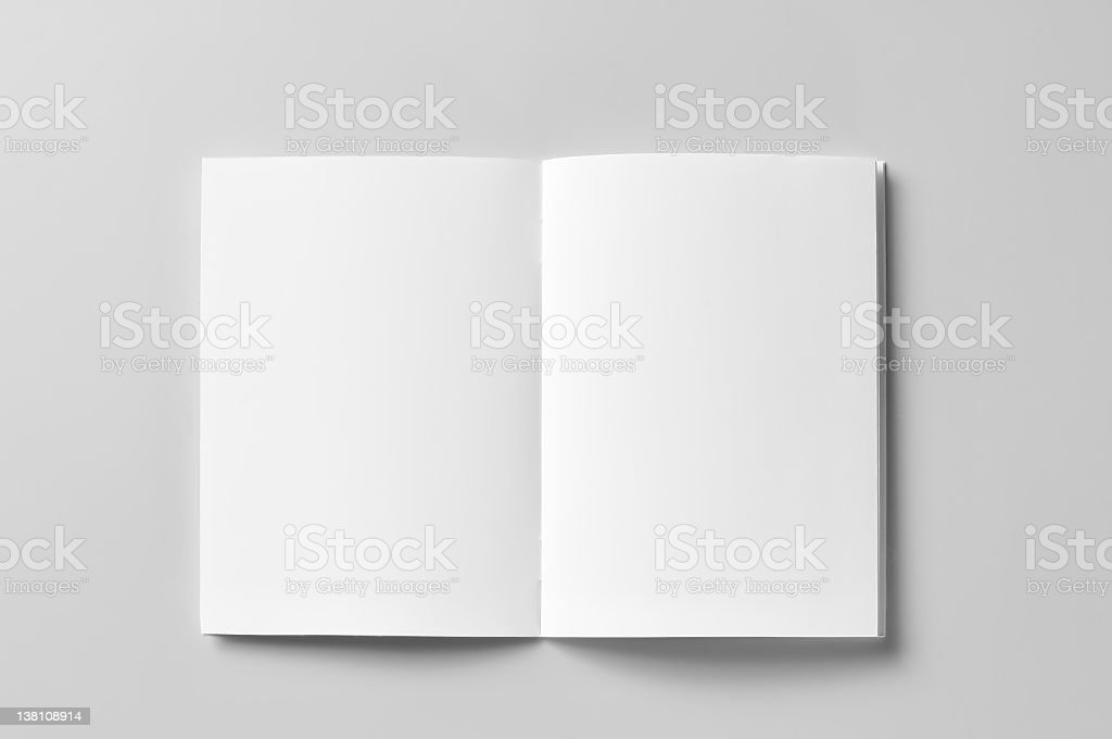 Black white brochure open on a white surface stock photo