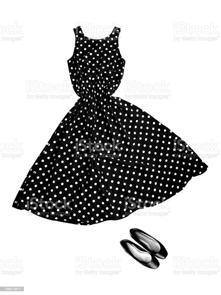 black & white dress with dots, shoes royalty-free stock photo