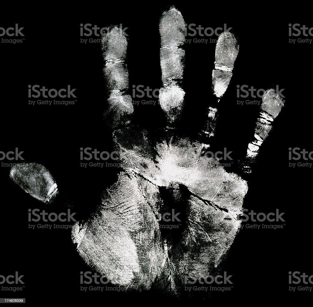 Black white hand print royalty-free stock photo