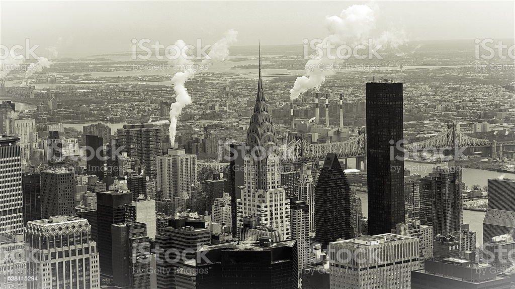 Black & White Manhattan Skyline In New York stock photo