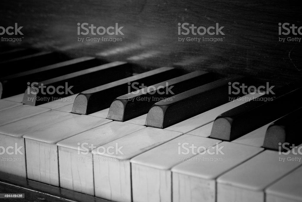 Black & White, Old Square Grand Piano stock photo