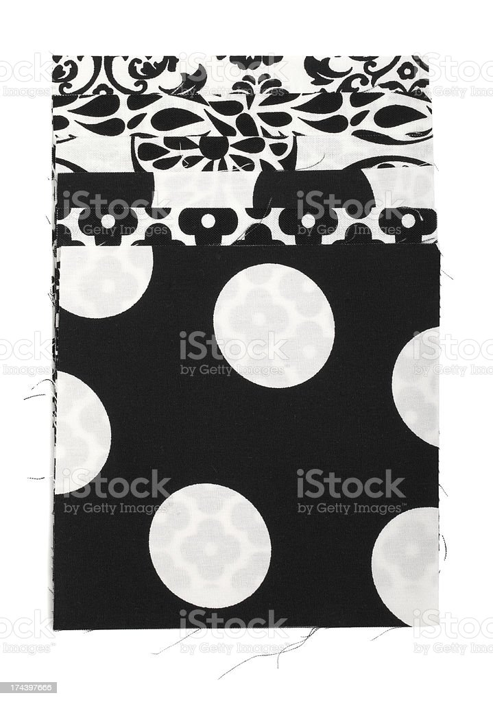 Black White Pattern Fabric Swatch royalty-free stock photo