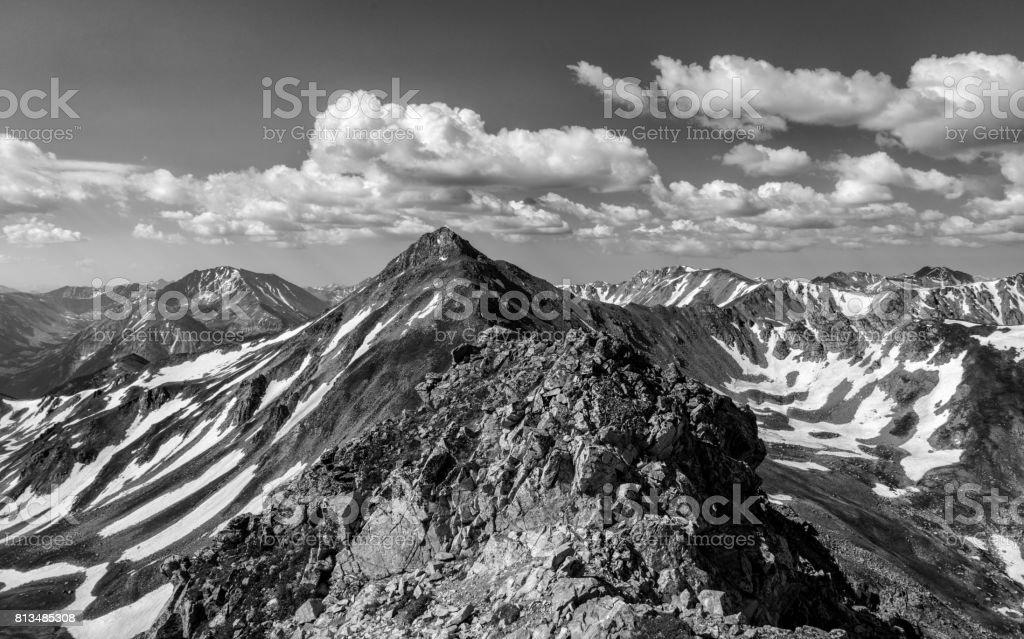 Black & White Photo - Colorado Rocky Mountains, Sawatch Range stock photo