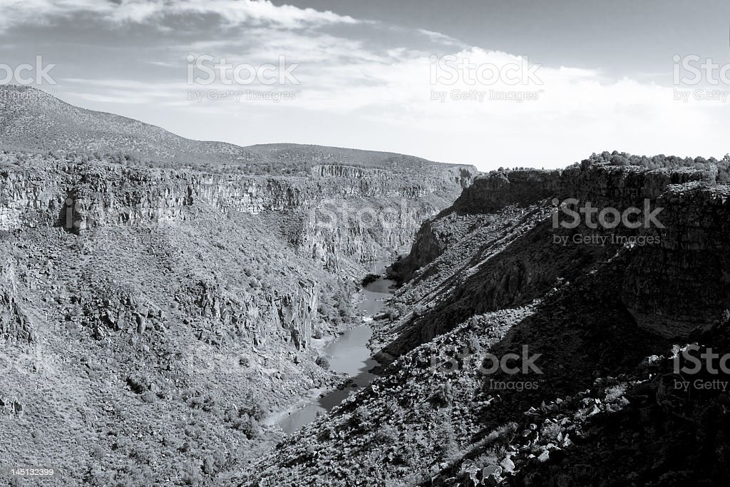 Black White Rio Grande River Gorge, North Central New Mexico royalty-free stock photo