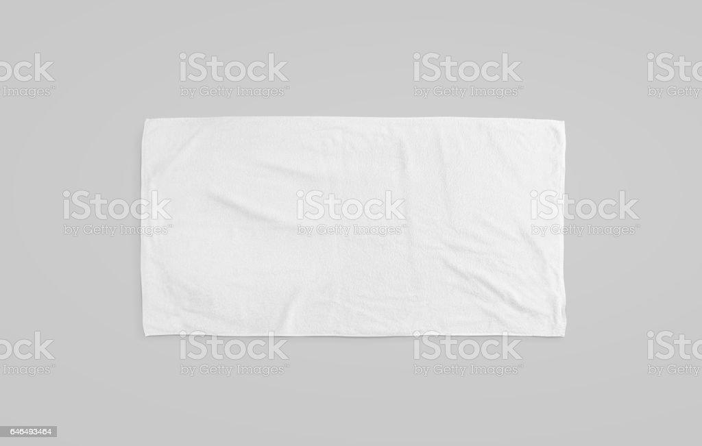 Black white soft beach towel mockup. Clear unfolded wiper stock photo