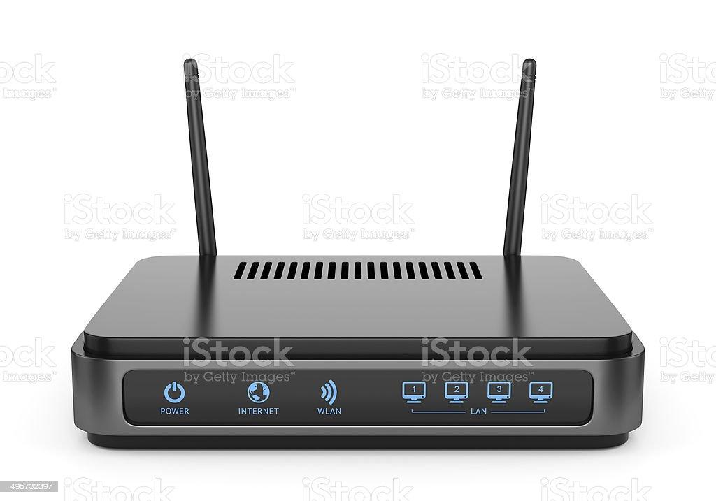 Black wi-fi router stock photo