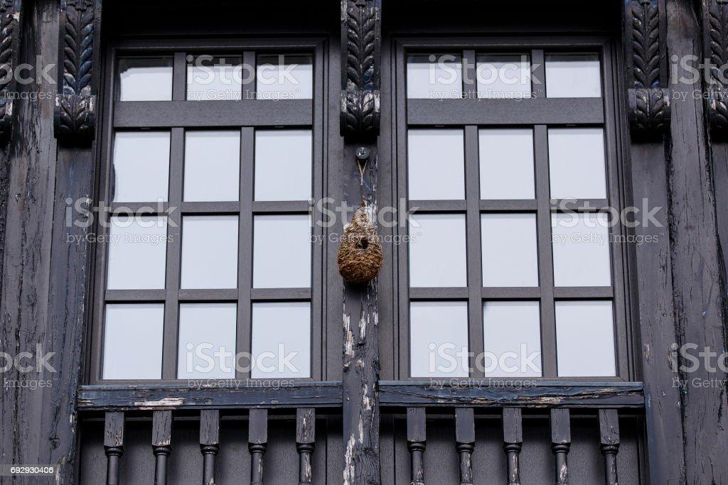 black window,hondarribia stock photo