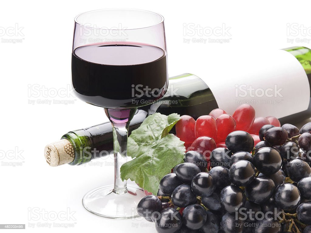 black wine and grapes royalty-free stock photo