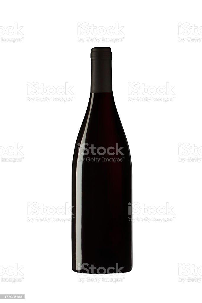 Black wine bottle on white background stock photo