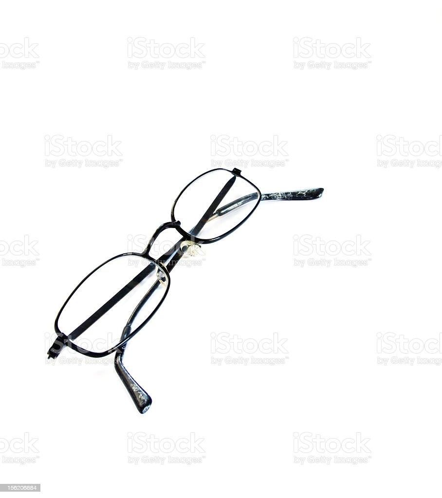 Black wire framed eyeglasses stock photo