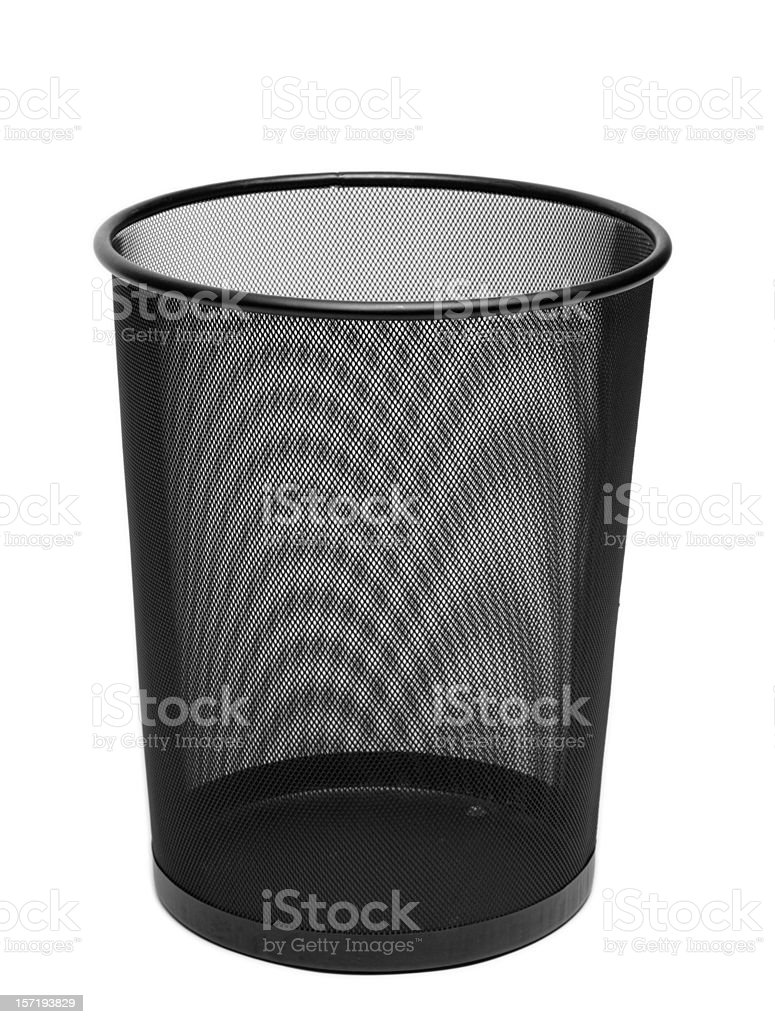 Black Wire Mesh Trash Can Isolated on White stock photo