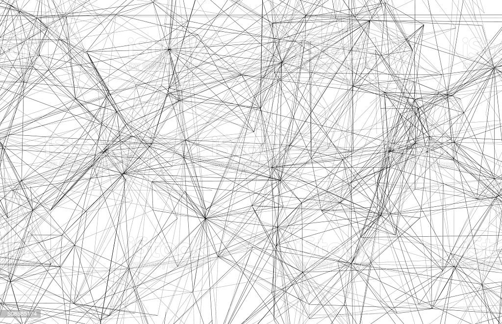 Black wire-frame mesh over white background, 3d stock photo