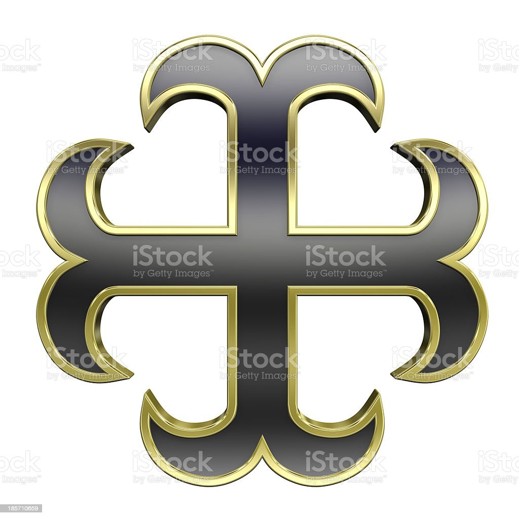 Black with gold frame heraldic cross isolated on white. royalty-free stock photo