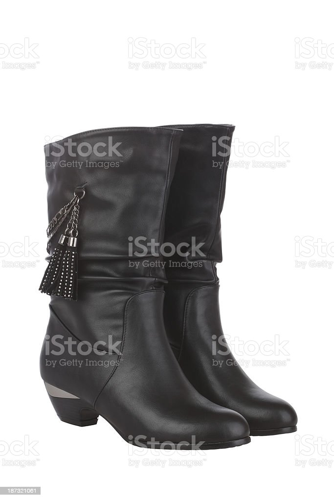 Black Woman Boot on white background royalty-free stock photo
